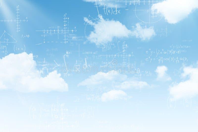 Samengesteld beeld van wiskunde over blauwe achtergrond stock illustratie