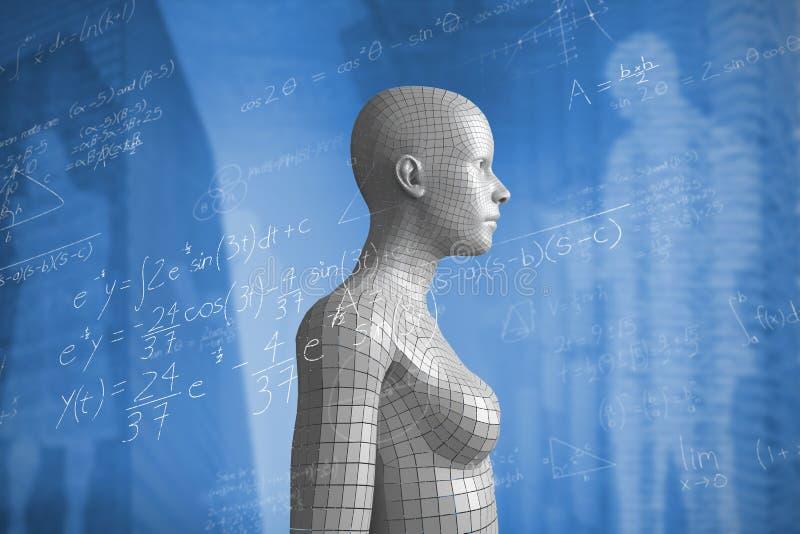 Samengesteld beeld van wiskunde over zwarte achtergrond royalty-vrije illustratie