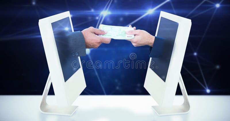 Samengesteld beeld van zakenlieden die geld ruilen stock afbeelding