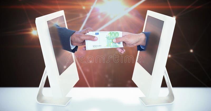 Samengesteld beeld van zakenlieden die handen schudden en geld ruilen royalty-vrije stock foto's