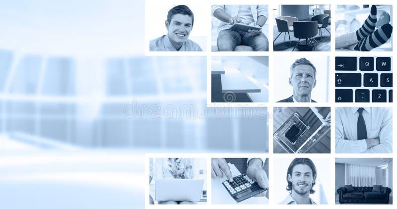 Samengesteld beeld van zakenlieden die laptop met behulp van stock foto's