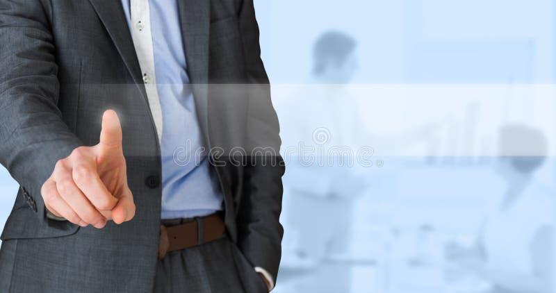 Samengesteld beeld van zakenman in het grijze kostuum richten royalty-vrije stock foto's