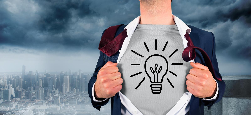 Samengesteld beeld van zakenman het openen overhemd in superherostijl stock fotografie