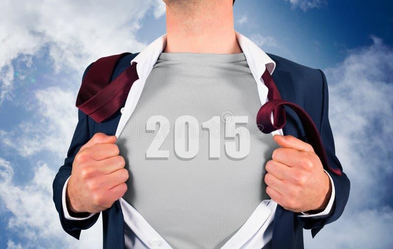Samengesteld beeld van zakenman het openen overhemd in superherostijl royalty-vrije stock foto