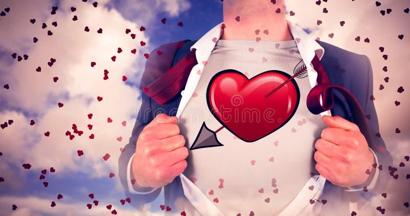 Samengesteld beeld van zakenman het openen overhemd in superherostijl royalty-vrije stock afbeelding