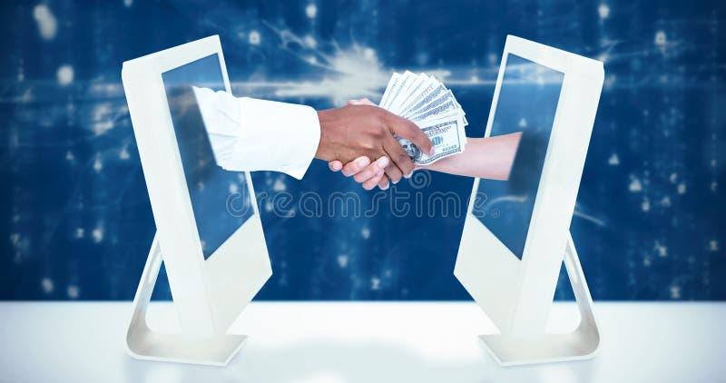 Samengesteld beeld van zakenman het overhandigen bankbiljetten aan vrouwelijke collega royalty-vrije stock foto