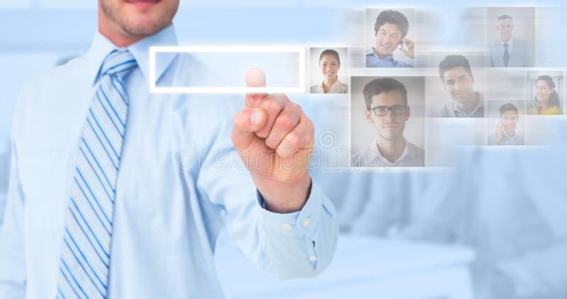 Samengesteld beeld van zakenman in overhemd die met zijn vinger richten stock fotografie