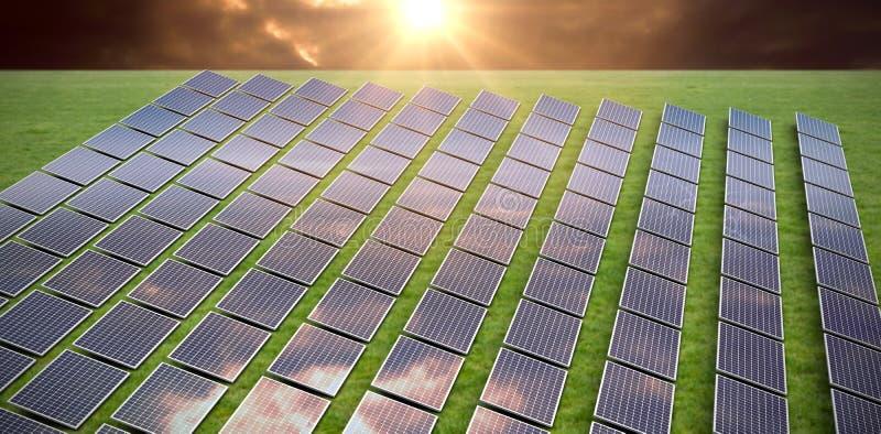 Samengesteld beeld van zonnepanelen royalty-vrije stock afbeelding