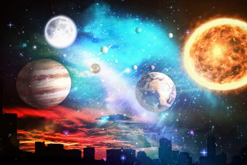 Samengesteld beeld van samengesteld beeld van zonnestelsel tegen witte achtergrond vector illustratie