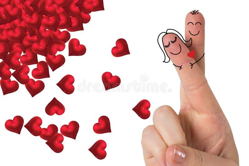 Samengesteld die beeld van vingers als een paar worden gekruist stock illustratie