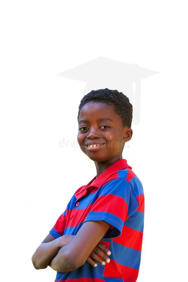 Samengesteld leuk beeld van weinig jongen die bij camera glimlachen stock afbeelding