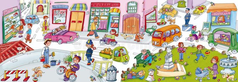 Samengesteld stads bedrijfspark, kinderen en dieren, met de stadsvoorwerpen stock illustratie