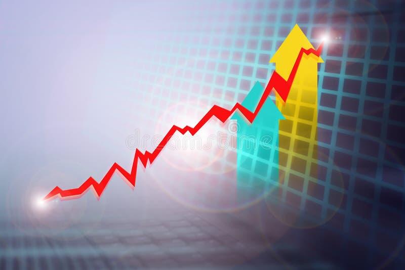 Samengestelde bedrijfs de groeigrafiek, lichte gloedachtergrond vector illustratie