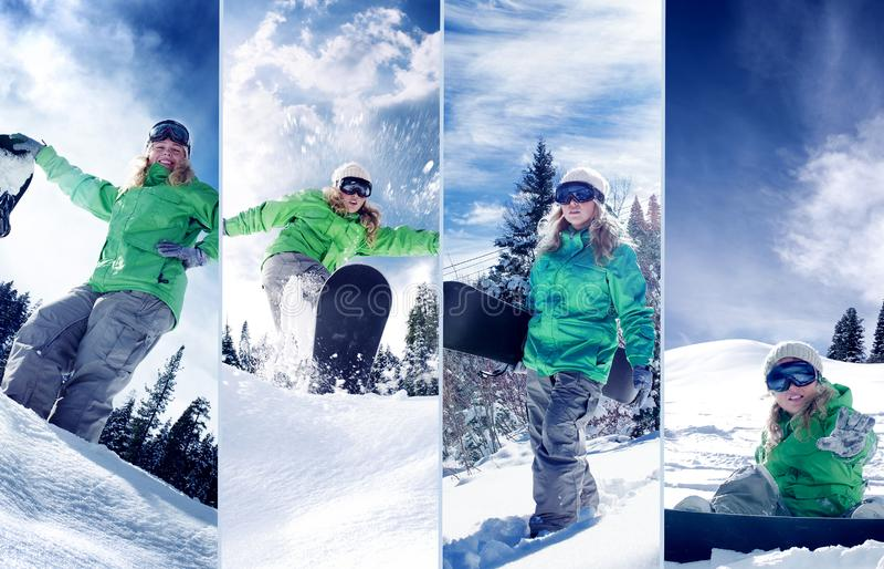 Samengestelde de collage van het Snowboarderthema stock foto's