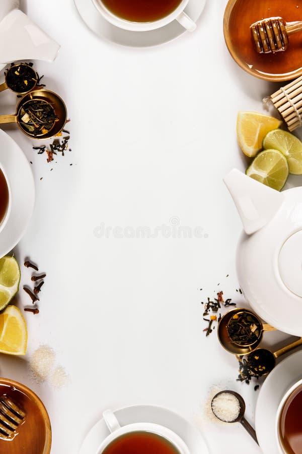 Samengestelde specerijen en thee stock afbeelding