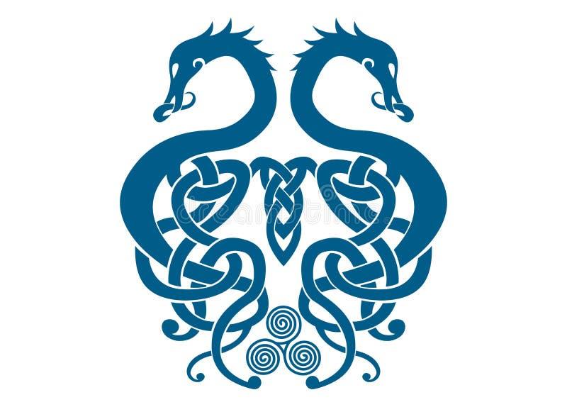 Samengevoegd Viking Dragons vector illustratie