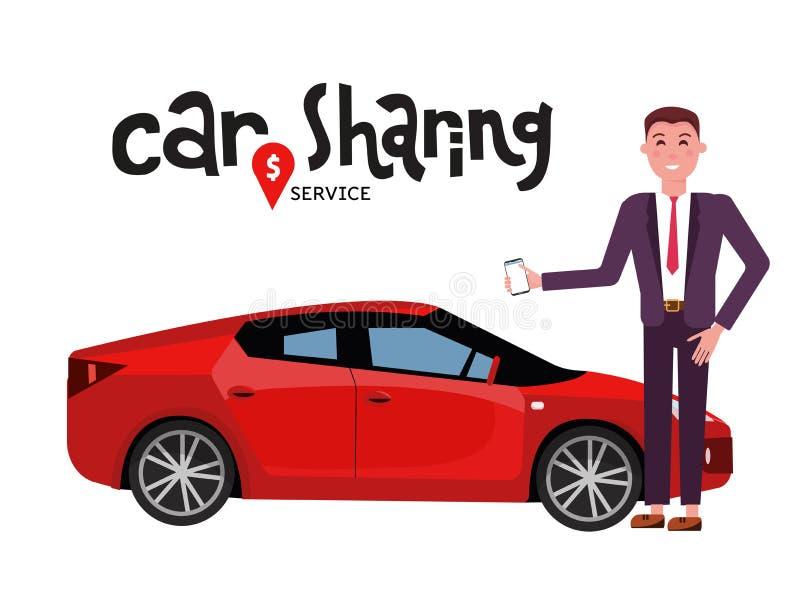 Samenstelling met auto en zakenman in kostuum met mobiele telefoon die zich naast rode sportwagen voor huur bevinden Carsharing o vector illustratie