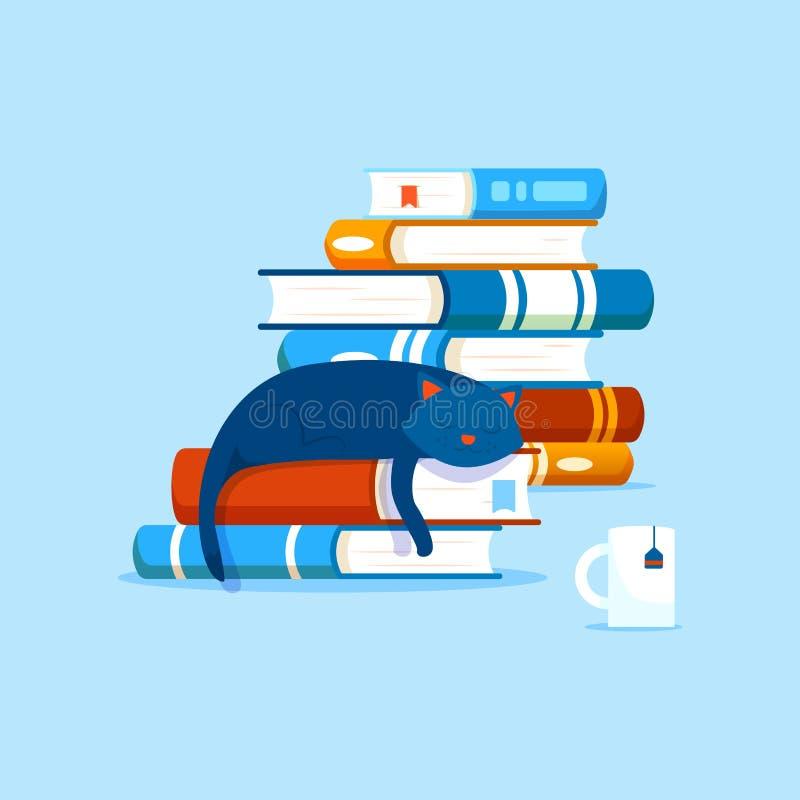 Samenstelling met boeken, het concept van de huisliteratuur Stapels van boeken en een binnenlandse kat die op een boek rusten royalty-vrije illustratie