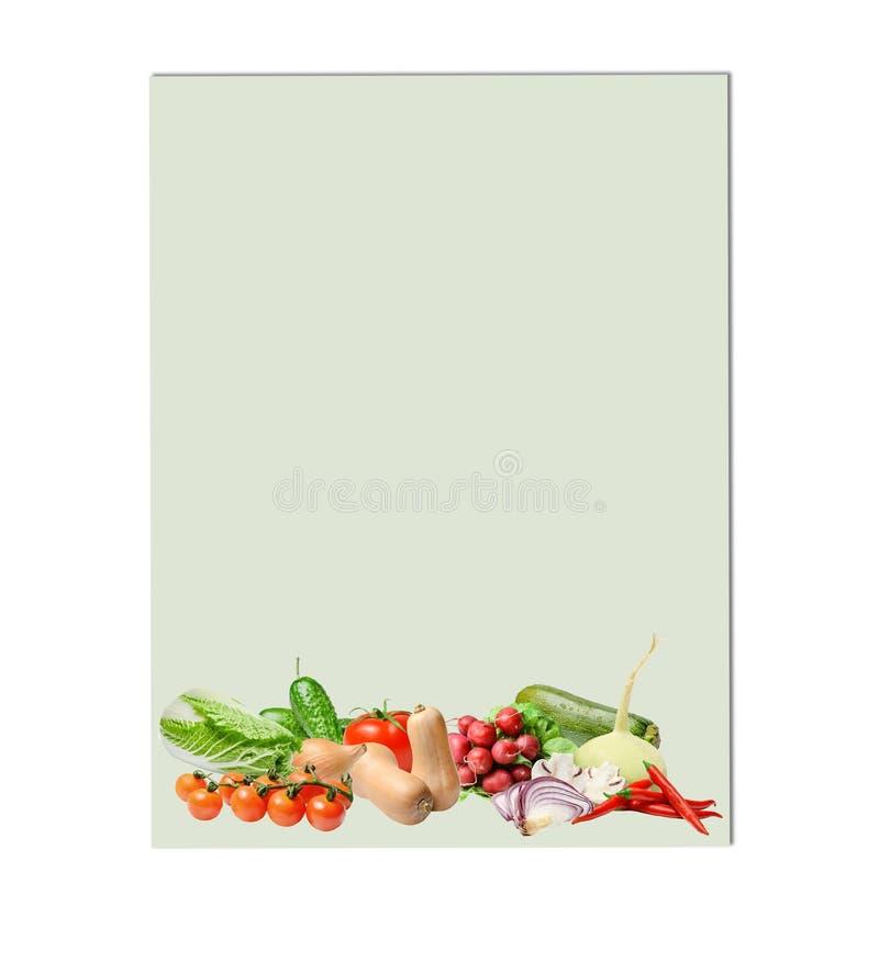 Samenstelling met een grote verscheidenheid van verschillende groenten bij de bodem van een lichtgroene achtergrond Plaats voor t stock foto