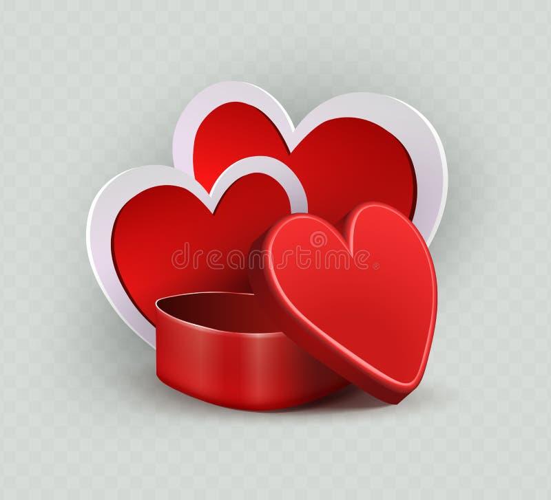 Samenstelling met een rode kist en het silhouet van twee harten met een witte grens vector illustratie