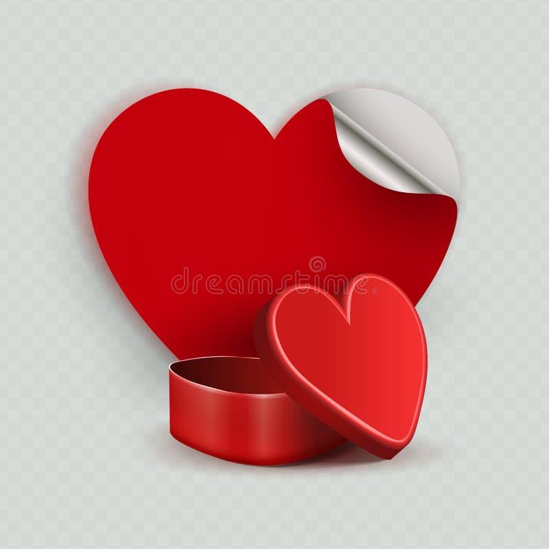 Samenstelling met een rode kist en een silhouet van het hart, vector illustratie