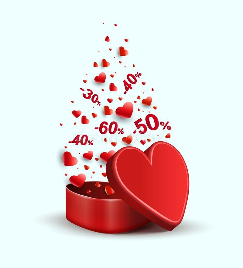 Samenstelling met een rode kist en een verscheidenheid van rode harten, royalty-vrije illustratie