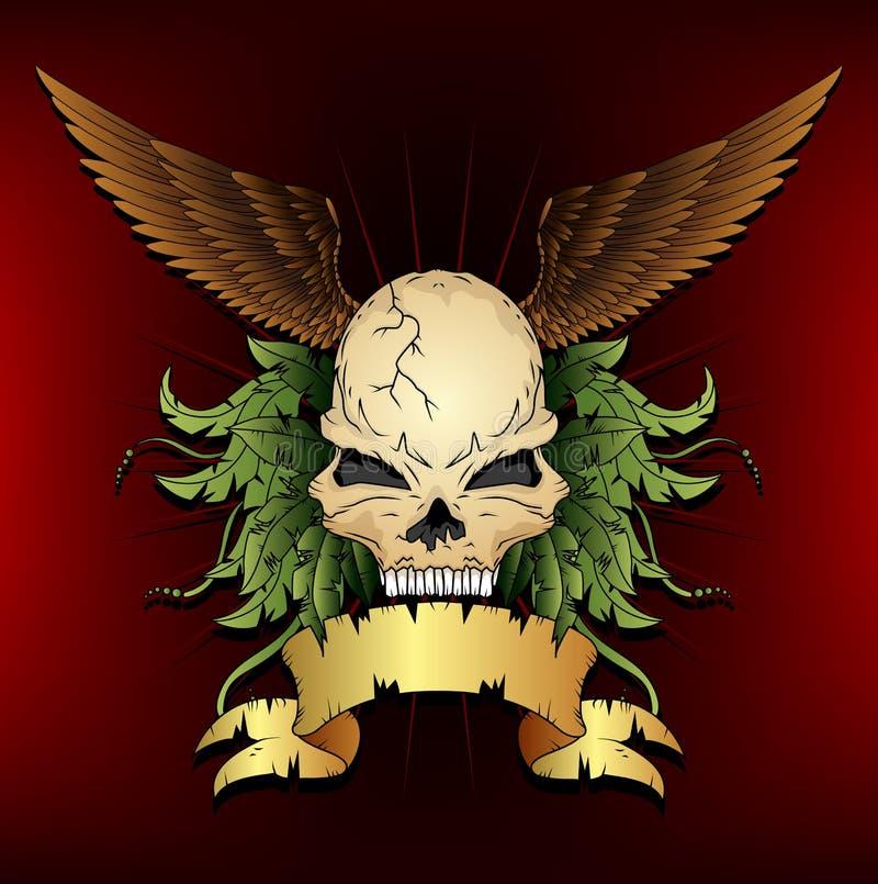 Samenstelling met schedel, vleugels, en lint royalty-vrije illustratie