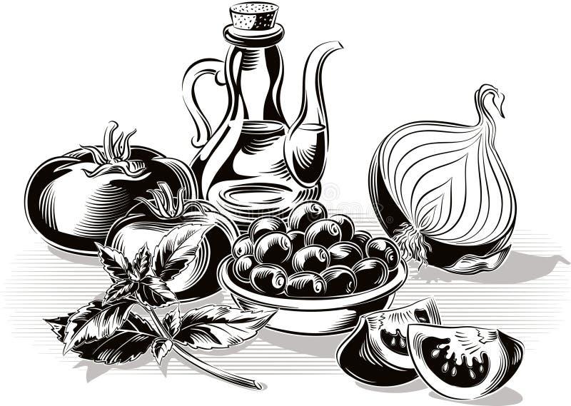 Samenstelling met tomaten, ui, olijven, olijfolie en basilicum SP stock illustratie
