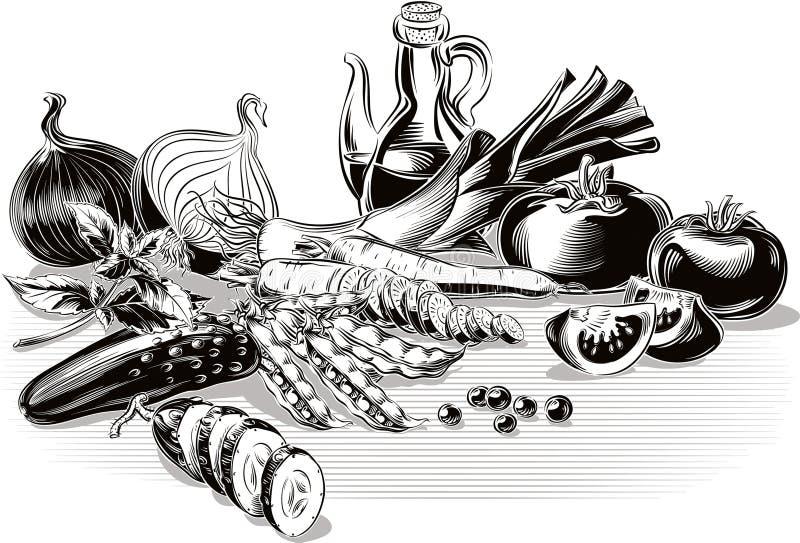 Samenstelling met tomaten, ui, prei, komkommer, wortelen, erwten, vector illustratie