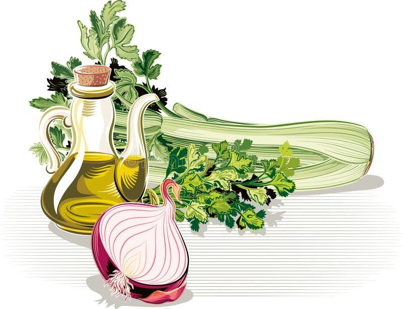 Samenstelling met ui, peterselie, selderie en olijfolie stock illustratie