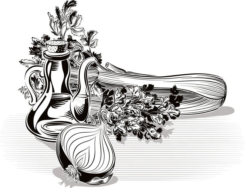 Samenstelling met ui, peterselie, selderie en olijfolie royalty-vrije illustratie