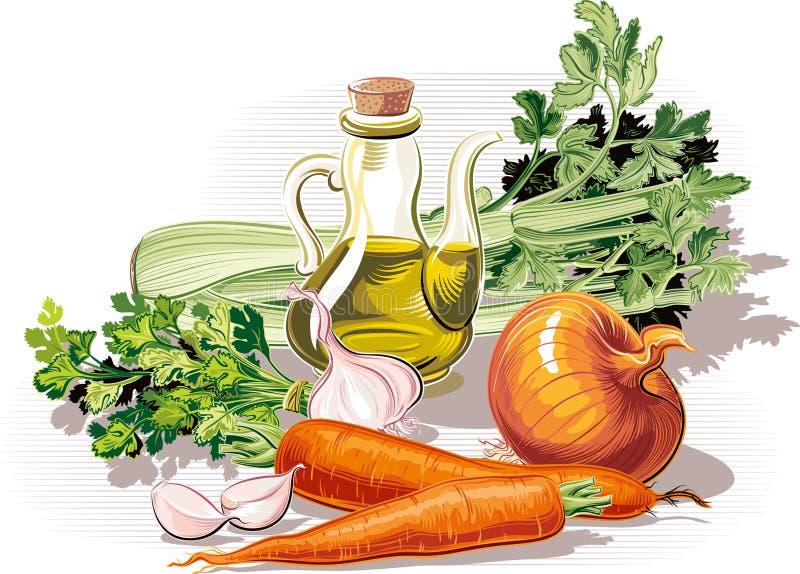 Samenstelling met ui, peterselie, selderie, knoflook, wortelen en oli stock illustratie