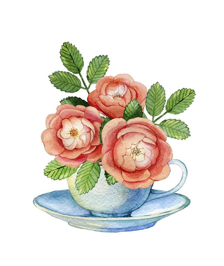 Samenstelling met uitstekende porseleinkop en wilde rozen royalty-vrije illustratie