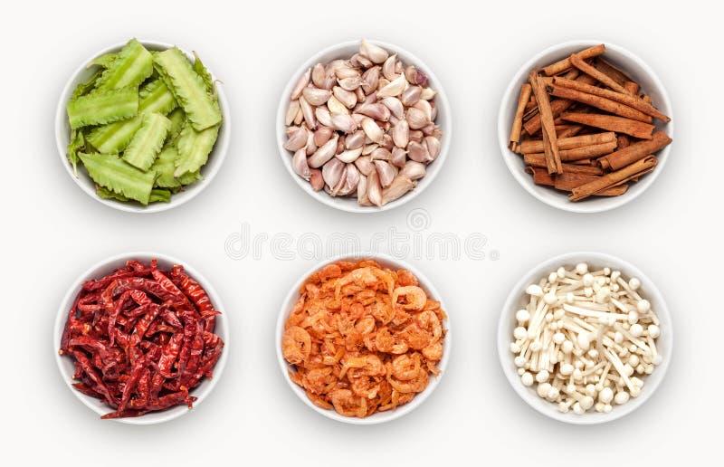 Samenstelling met vele verschillende verscheidenheden van ingrediënten royalty-vrije stock foto's