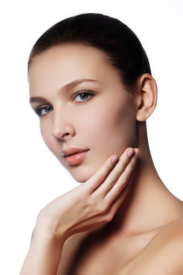 Samenstelling & schoonheidsmiddelen Close-upportret van mooie vrouw modelf stock afbeeldingen