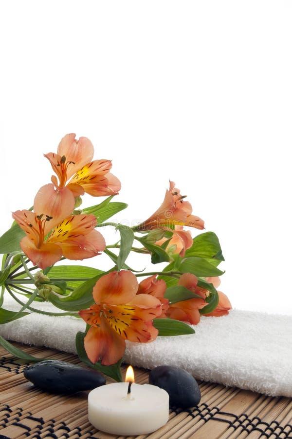 Samenstelling van bloemen met kuuroordstenen royalty-vrije stock foto