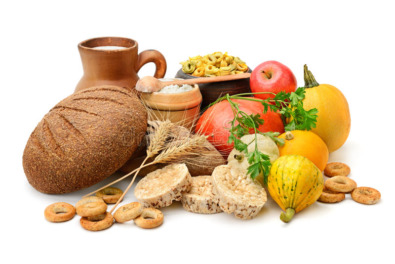 Samenstelling van brood, melk, groenten stock afbeelding