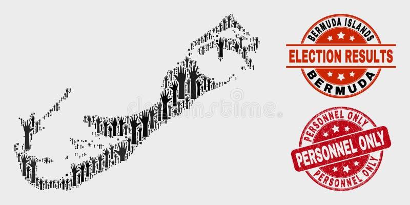 Samenstelling van de Eilandenkaart van de Verkiezingsbermudas en de Zegel slechts Verbinding van het Noodpersoneel stock illustratie