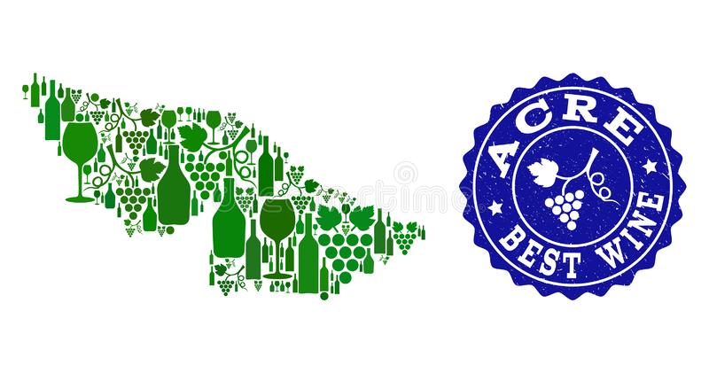 Samenstelling van de Kaart van de Druivenwijn van Acrestaat en het Beste Watermerk van Wijngrunge stock illustratie