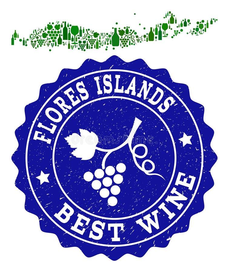 Samenstelling van de Kaart van de Druivenwijn van Indonesië - Flores-Eilanden en het Beste Watermerk van Wijngrunge royalty-vrije illustratie