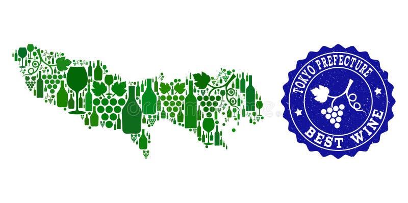 Samenstelling van de Kaart van de Druivenwijn van de Prefectuur van Tokyo en de Beste Verbinding van Wijngrunge royalty-vrije illustratie