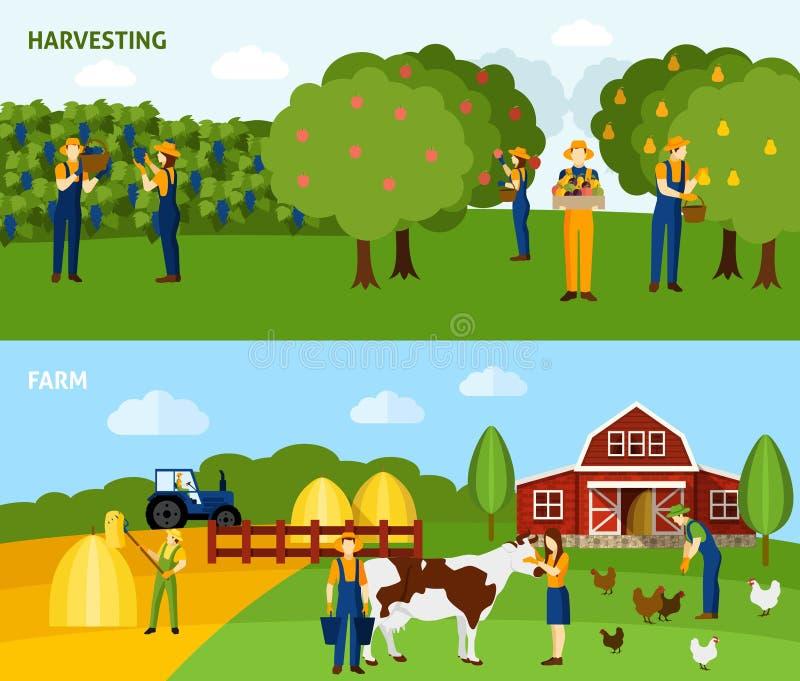 Samenstelling van de landbouw 2 de vlakke horizontale banners royalty-vrije illustratie