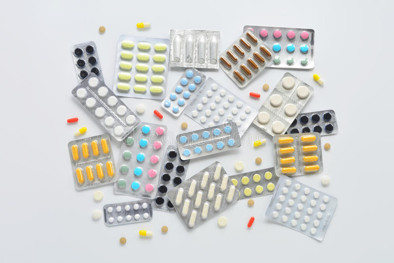 Samenstelling van de pillen de hoogste mening stock foto's