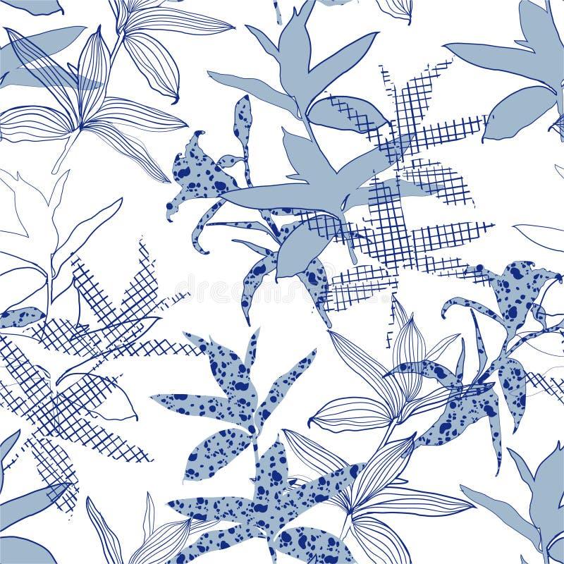 Samenstelling van de silhouet de Abstracte botanische bloem van tuinbladeren het monotone blauwe behang van het kleuren naadloze  stock illustratie