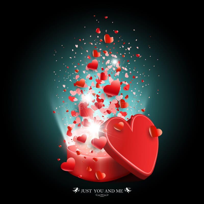 Samenstelling van donkere turkooise kleur met een kist, veel harten en stralen van licht vector illustratie