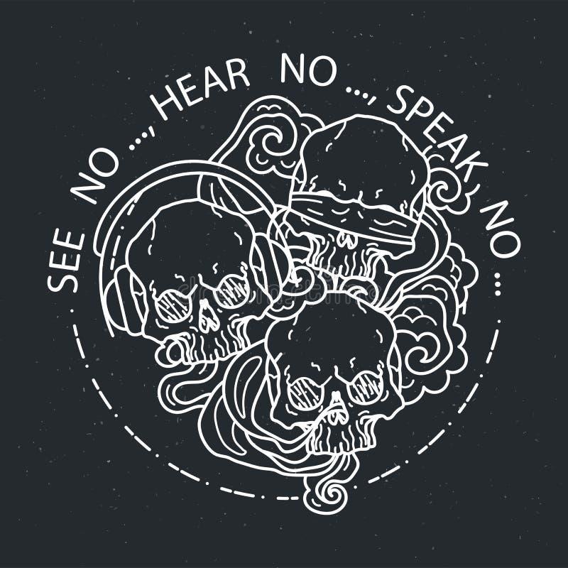 Samenstelling van drie schedels Vectorillustratie van zwart-witte tatoegerings grafische menselijke schedel royalty-vrije illustratie