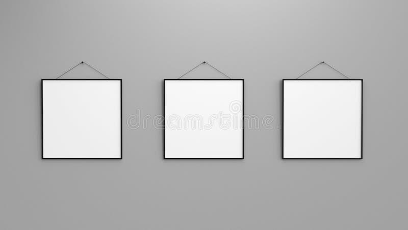 Samenstelling van drie zwarte lege fotokaders op grijze muur 3d r royalty-vrije illustratie