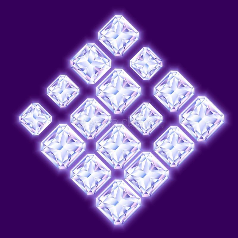 Samenstelling van glanzende diamanten op viooltje wordt gemaakt dat backgroun stock illustratie