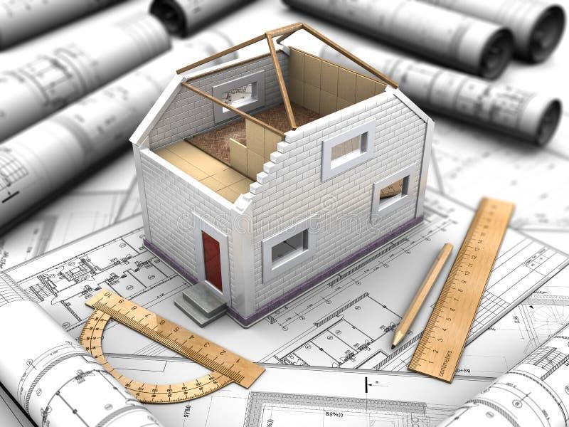 Samenstelling van het model van huis en blauwdrukken royalty-vrije illustratie