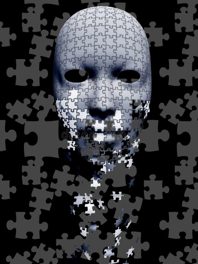 Samenstelling van het raadsel de dalende masker stock illustratie